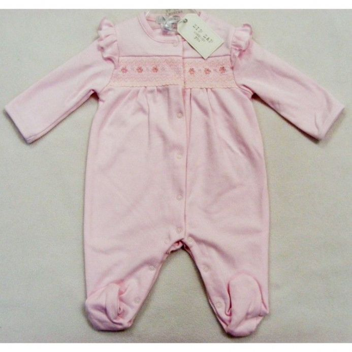Smocked Sleepsuit with Frill Shoulder Detail